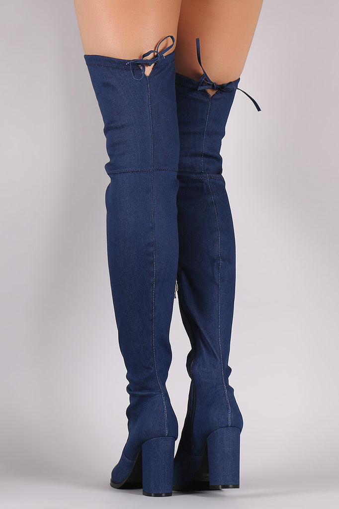 Drawstring-Tie Chunky Heeled Over-The-Knee Fitted Denim Boots - Rich Girl's Closet - 7