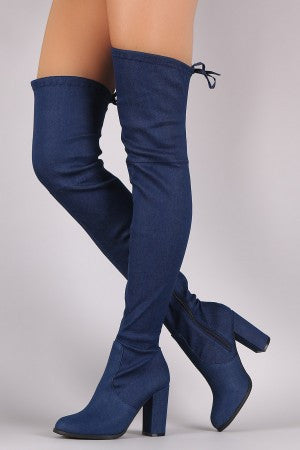 Drawstring-Tie Chunky Heeled Over-The-Knee Fitted Denim Boots - Rich Girl's Closet - 4