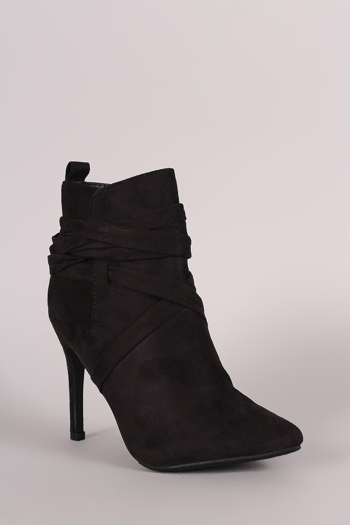 Breckelle Suede Pointy Toe Lace Up Ankle Boots - Rich Girl's Closet - 27