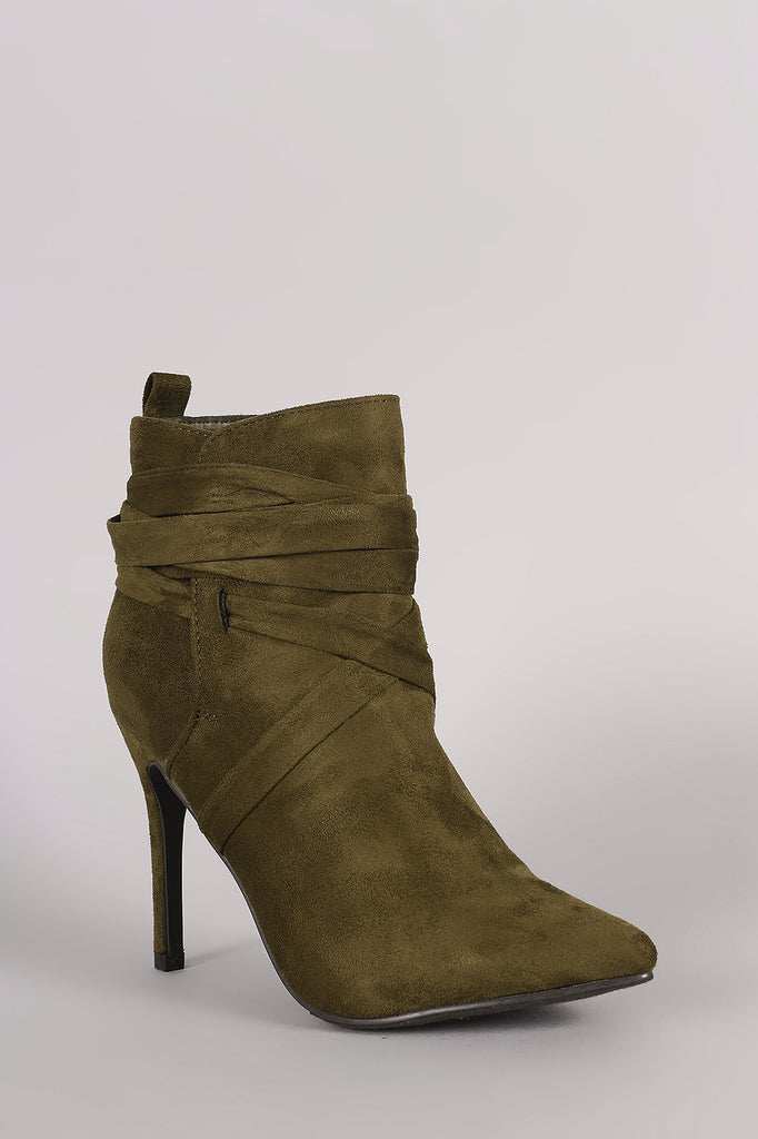 Breckelle Suede Pointy Toe Lace Up Ankle Boots - Rich Girl's Closet - 30
