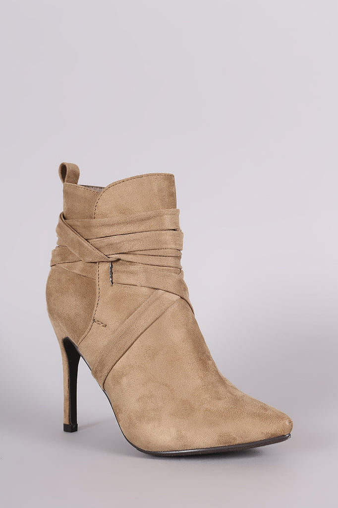 Breckelle Suede Pointy Toe Lace Up Ankle Boots - Rich Girl's Closet - 24