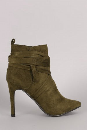 Breckelle Suede Pointy Toe Lace Up Ankle Boots - Rich Girl's Closet - 32