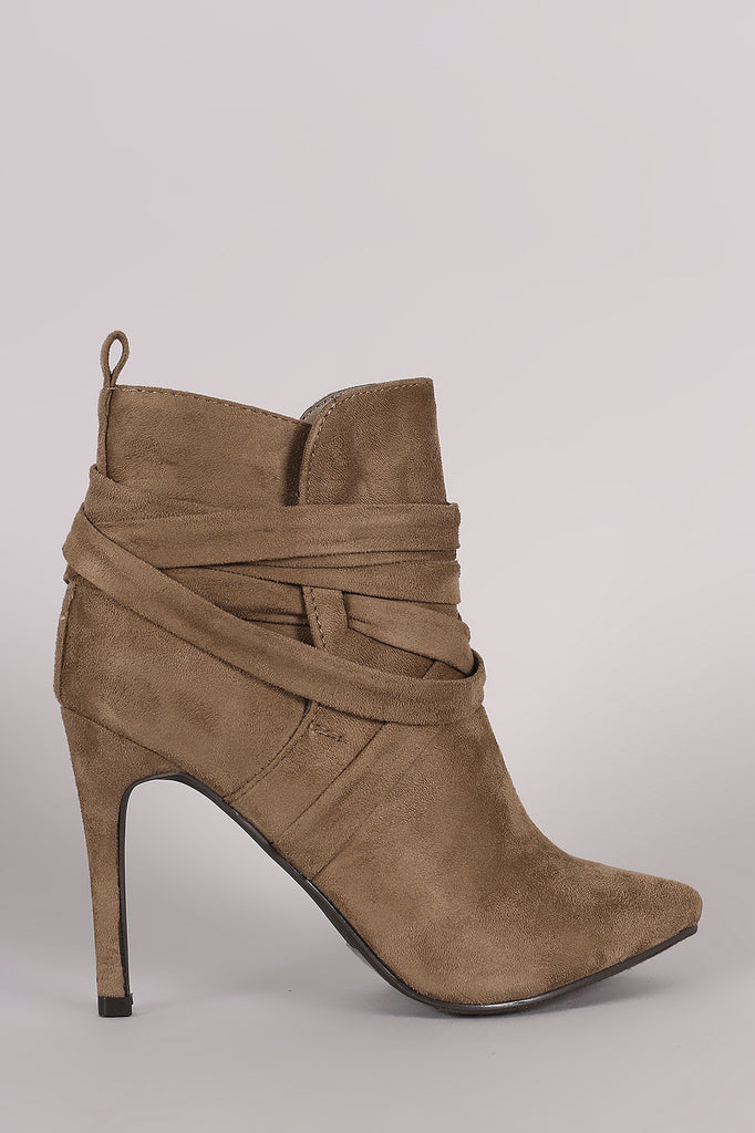Breckelle Suede Pointy Toe Lace Up Ankle Boots - Rich Girl's Closet - 17
