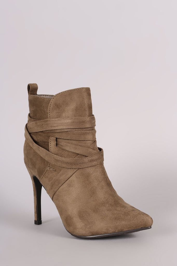 Breckelle Suede Pointy Toe Lace Up Ankle Boots - Rich Girl's Closet - 5