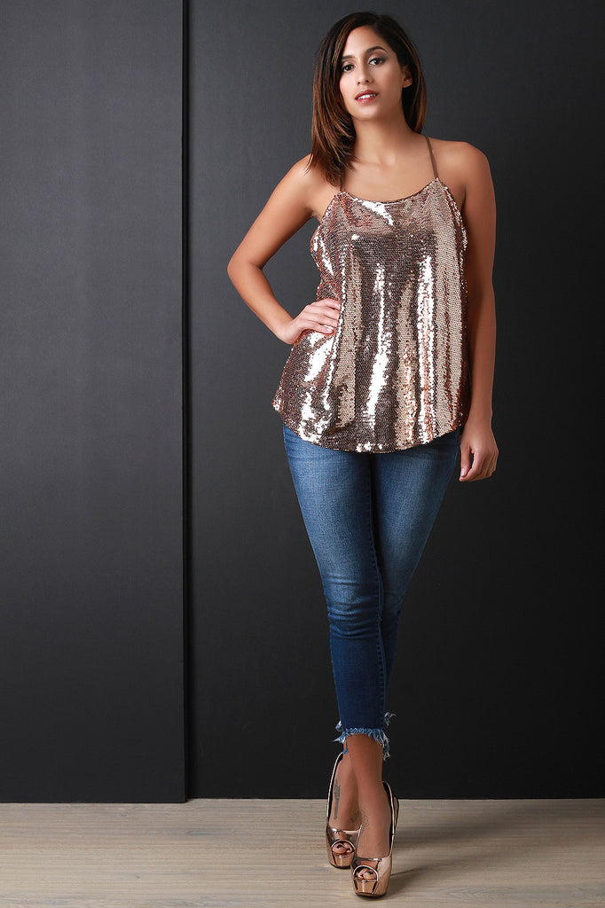 Sequin Tied Back Tunic Top - Rich Girl's Closet - 3