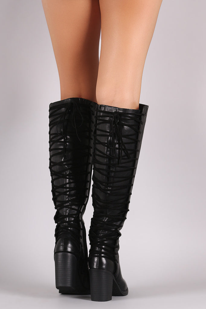 Back Corset Lace-Up Chunky Heeled Boots - Rich Girl's Closet - 13