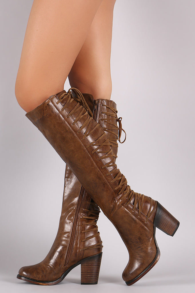 Back Corset Lace-Up Chunky Heeled Boots - Rich Girl's Closet - 1