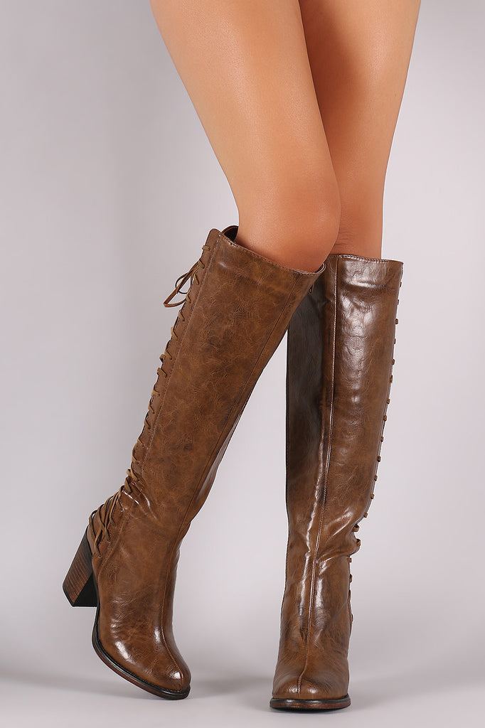 Back Corset Lace-Up Chunky Heeled Boots - Rich Girl's Closet - 9