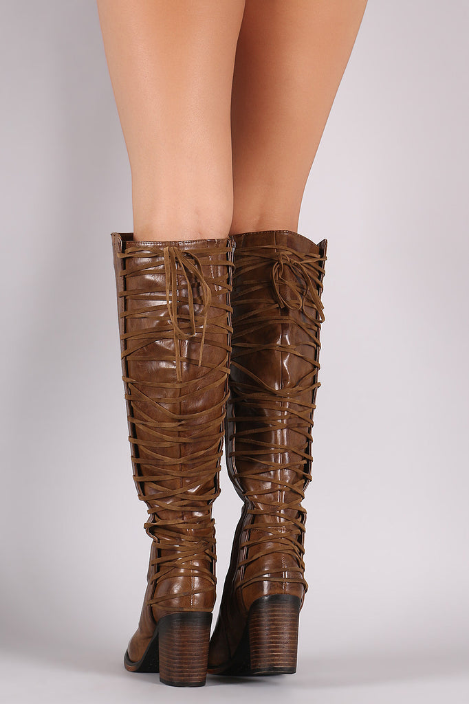 Back Corset Lace-Up Chunky Heeled Boots - Rich Girl's Closet - 10
