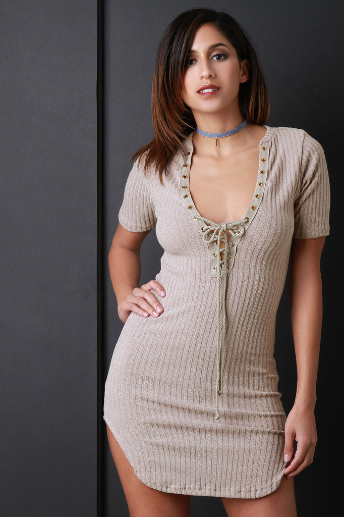 Lace Up Short Sleeve Ribbed Bodycon Dress - Rich Girl's Closet - 1