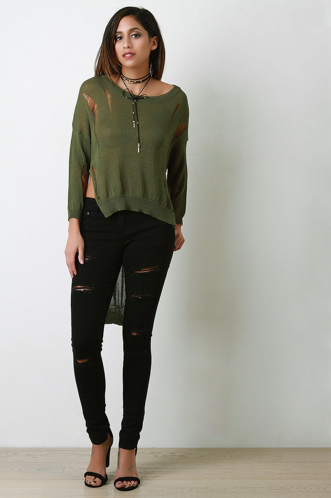 Distressed Loose Knit Long Sleeve High-Low Top - Rich Girl's Closet - 19