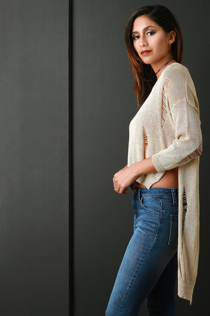 Distressed Loose Knit Long Sleeve High-Low Top - Rich Girl's Closet - 8