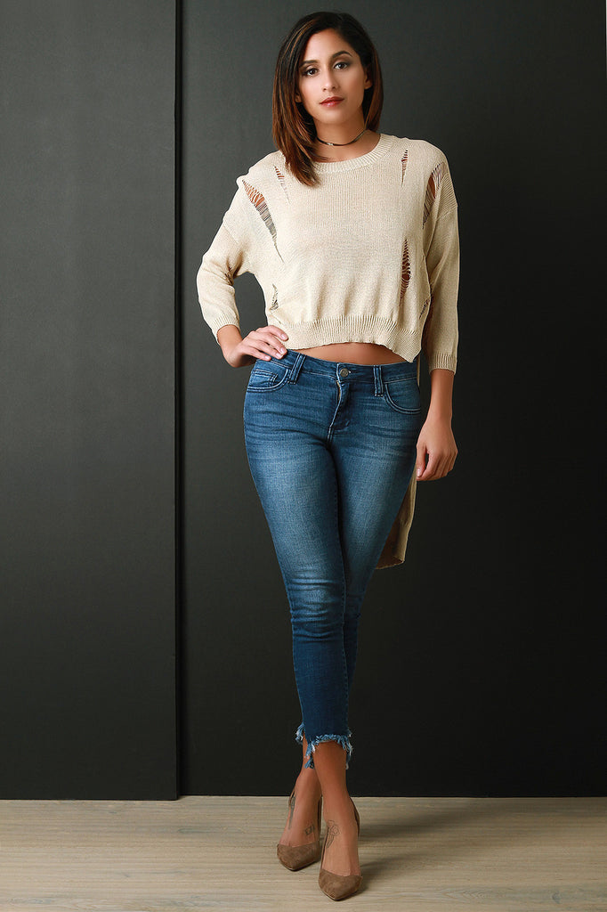 Distressed Loose Knit Long Sleeve High-Low Top - Rich Girl's Closet - 16