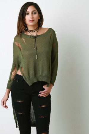 Distressed Loose Knit Long Sleeve High-Low Top - Rich Girl's Closet - 10