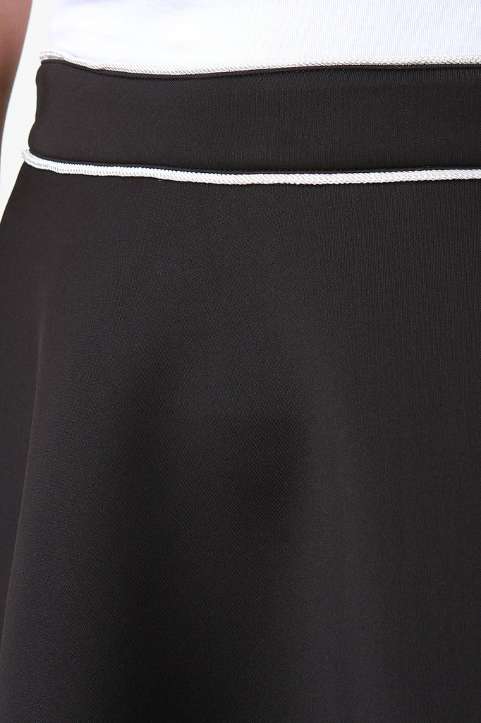 Contrast Piping Scuba Knit A-Line Skirt - Rich Girl's Closet - 8