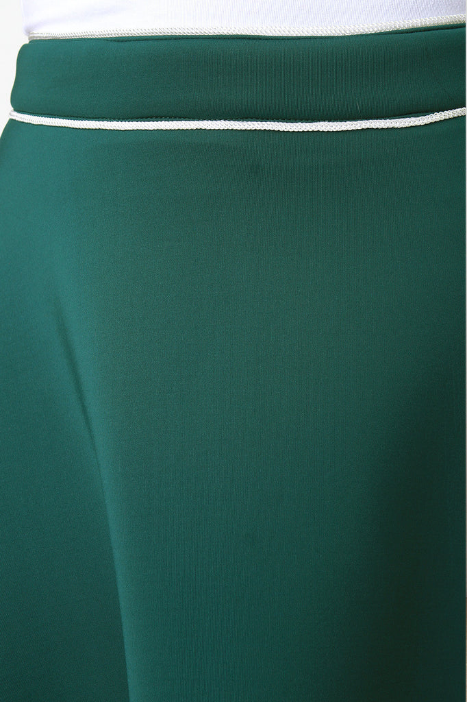 Contrast Piping Scuba Knit A-Line Skirt - Rich Girl's Closet - 4