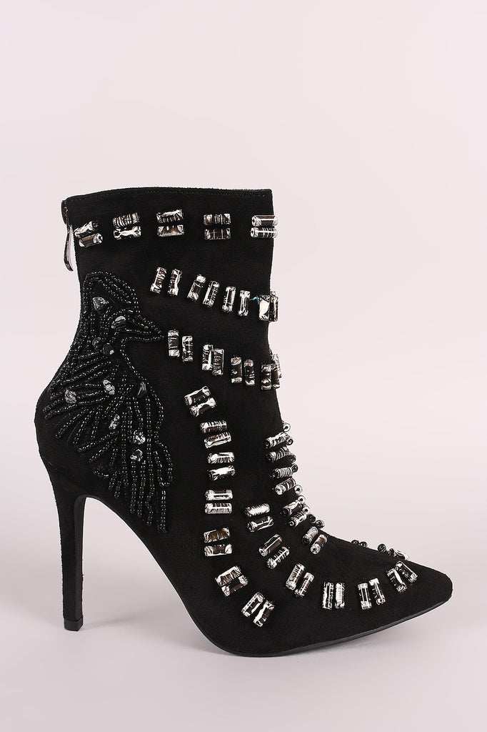 Beads Embellished Stiletto Suede Ankle Boots - Rich Girl's Closet - 4