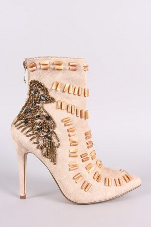Beads Embellished Stiletto Suede Ankle Boots - Rich Girl's Closet - 7
