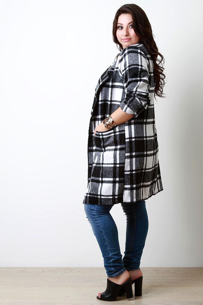 Plaid Wool Pocketed Open Front Trench Coat - Rich Girl's Closet - 5