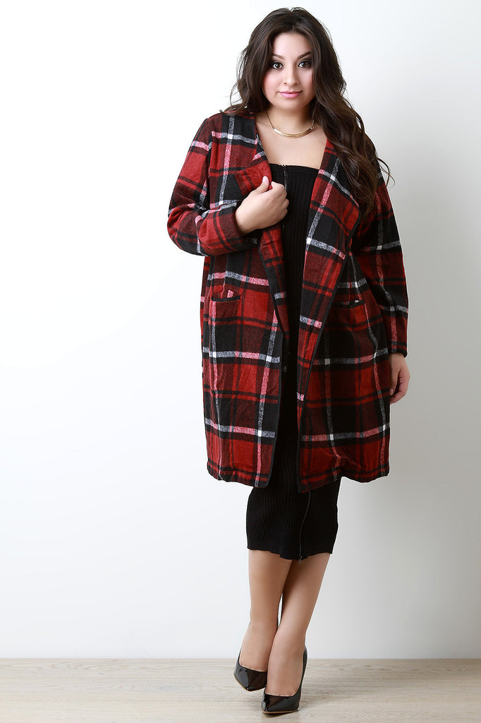 Plaid Wool Pocketed Open Front Trench Coat - Rich Girl's Closet - 1