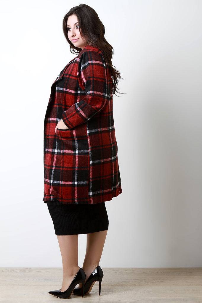Plaid Wool Pocketed Open Front Trench Coat - Rich Girl's Closet - 2