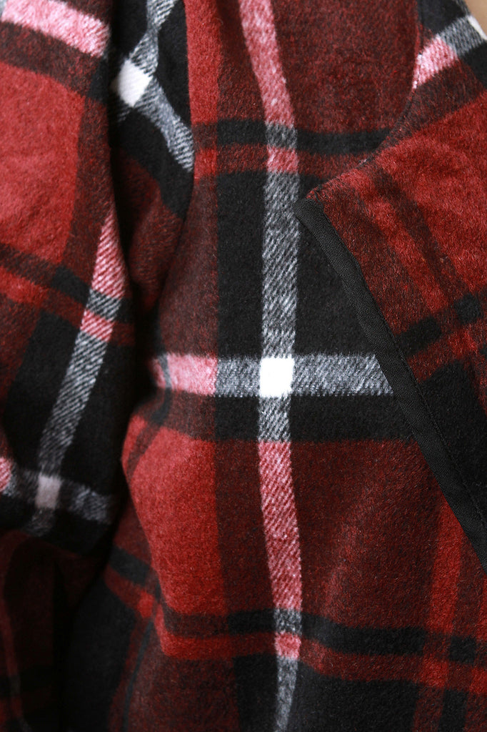 Plaid Wool Pocketed Open Front Trench Coat - Rich Girl's Closet - 3