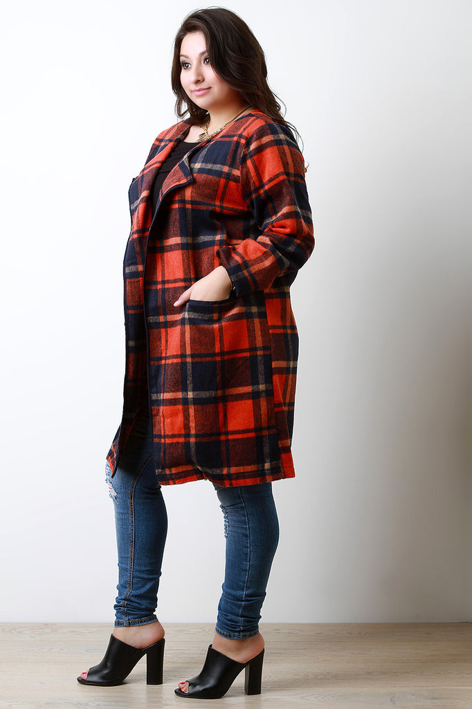 Plaid Wool Pocketed Open Front Trench Coat - Rich Girl's Closet - 9