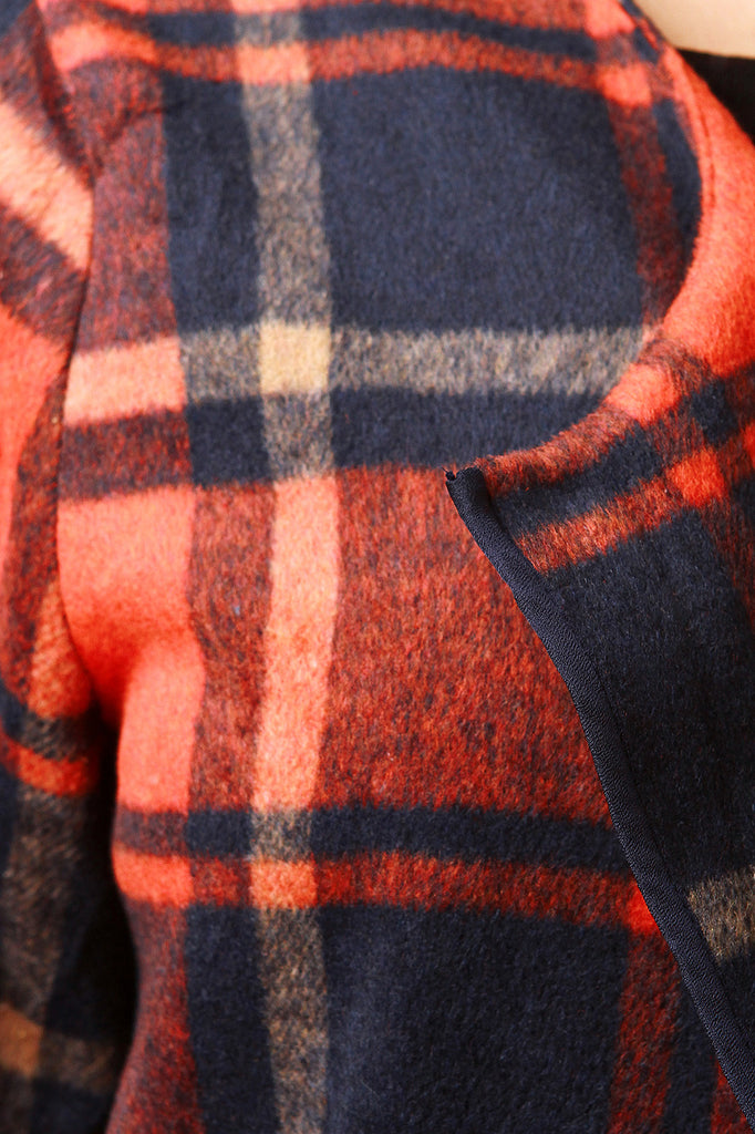 Plaid Wool Pocketed Open Front Trench Coat - Rich Girl's Closet - 10
