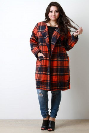 Plaid Wool Pocketed Open Front Trench Coat - Rich Girl's Closet - 7