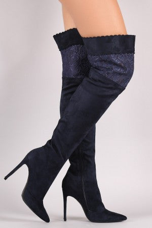 Suede Scalloped Lace Panel Pointy Toe Stiletto Boots - Rich Girl's Closet - 4