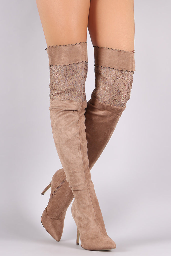 Suede Scalloped Lace Panel Pointy Toe Stiletto Boots - Rich Girl's Closet - 8