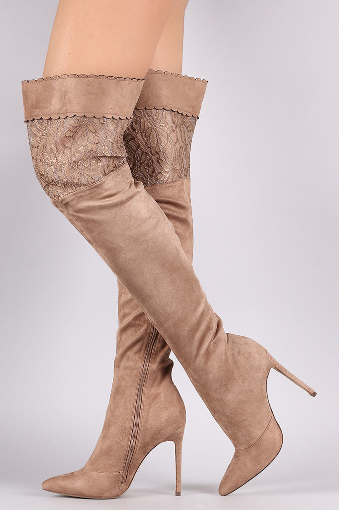 Suede Scalloped Lace Panel Pointy Toe Stiletto Boots - Rich Girl's Closet - 9