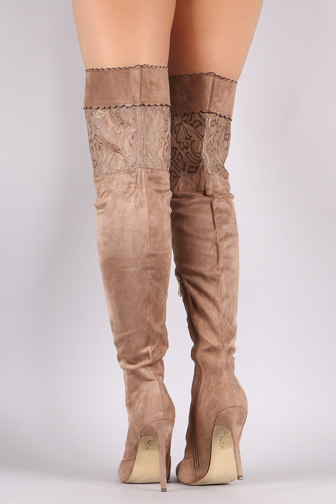 Suede Scalloped Lace Panel Pointy Toe Stiletto Boots - Rich Girl's Closet - 10