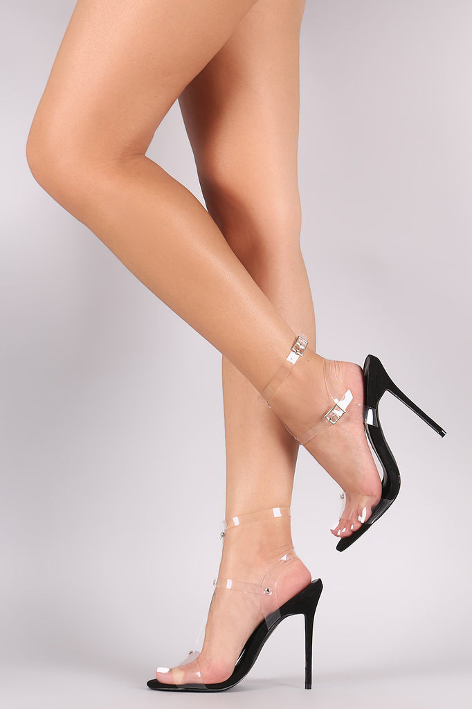 Lucite Ankle Strap Open Toe Stiletto Heel - Rich Girl's Closet - 7