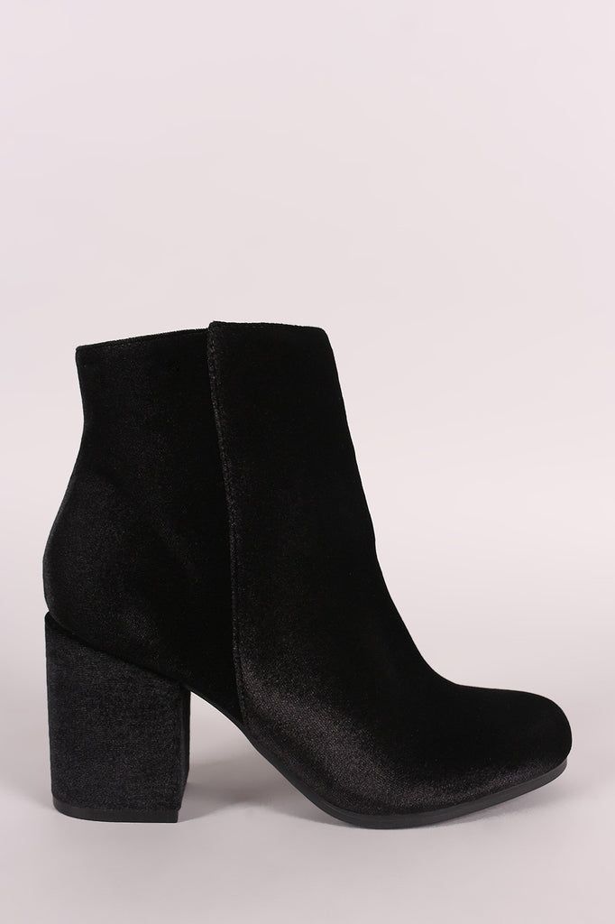 Qupid Crushed Velvet Blocky Heeled Ankle Boots - Rich Girl's Closet - 5
