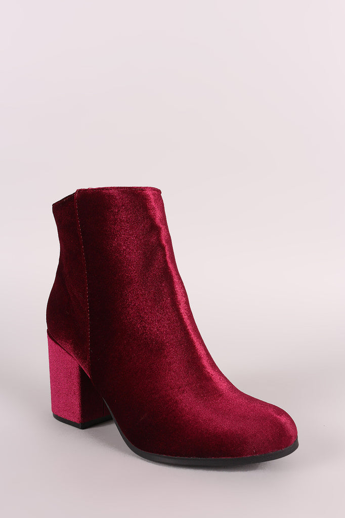 Qupid Crushed Velvet Blocky Heeled Ankle Boots - Rich Girl's Closet - 2