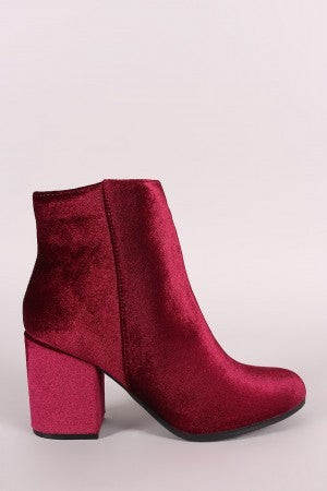 Qupid Crushed Velvet Blocky Heeled Ankle Boots - Rich Girl's Closet - 4