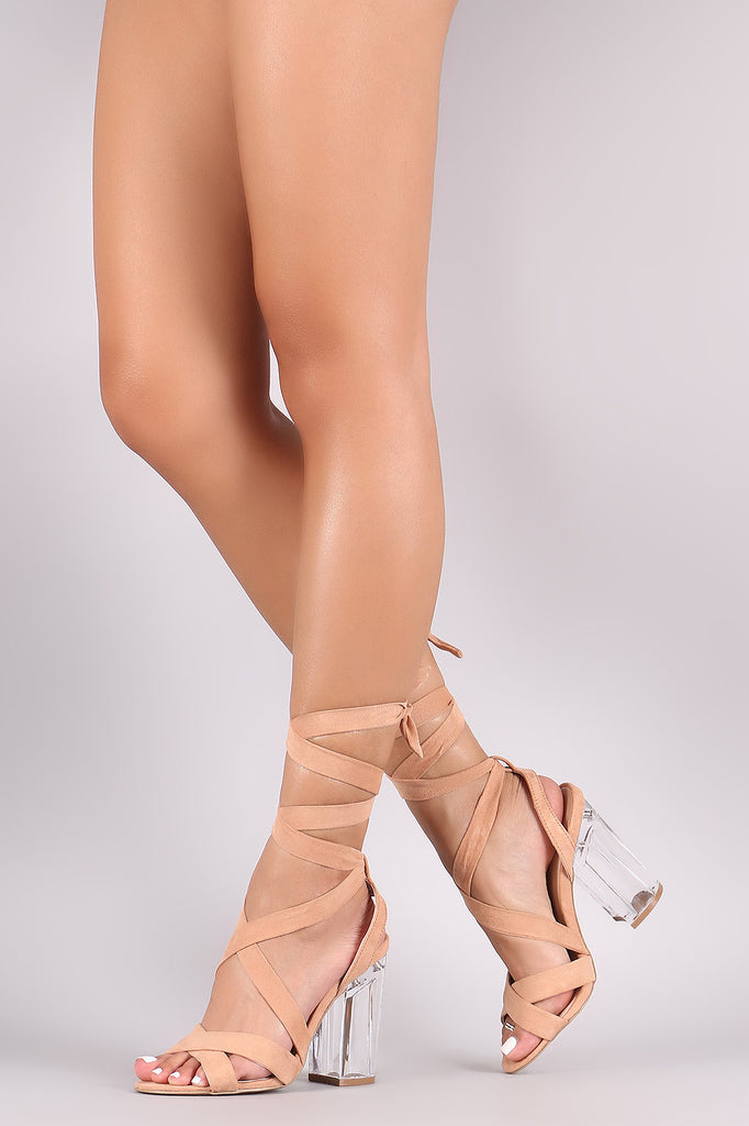 Qupid Suede Leg Wrap Open Toe Chunky Lucite Heel - Rich Girl's Closet - 5