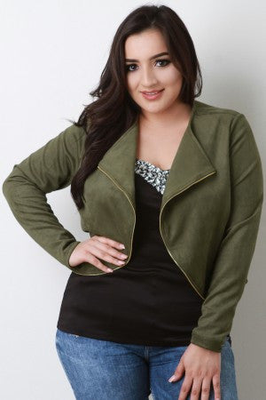 Suede Zipper Trim Long Sleeves Bolero Jacket - Rich Girl's Closet - 4