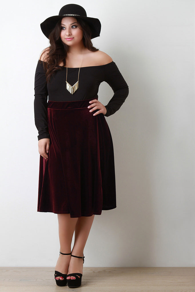 Velvet A-Line Midi Skirt - Rich Girl's Closet - 7