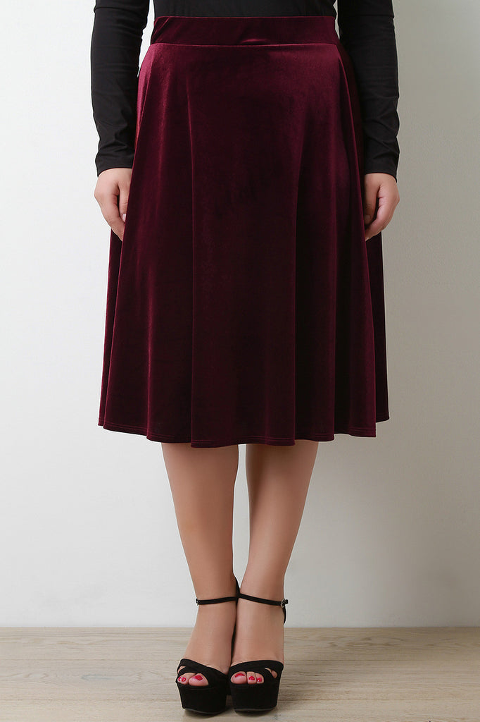 Velvet A-Line Midi Skirt - Rich Girl's Closet - 8