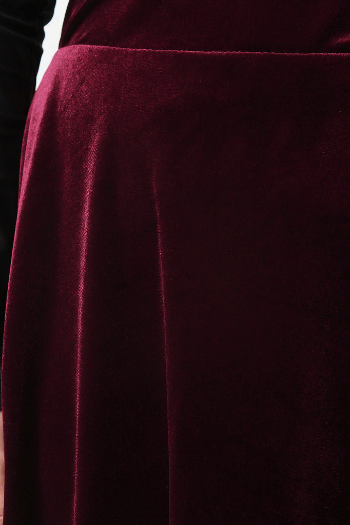 Velvet A-Line Midi Skirt - Rich Girl's Closet - 9