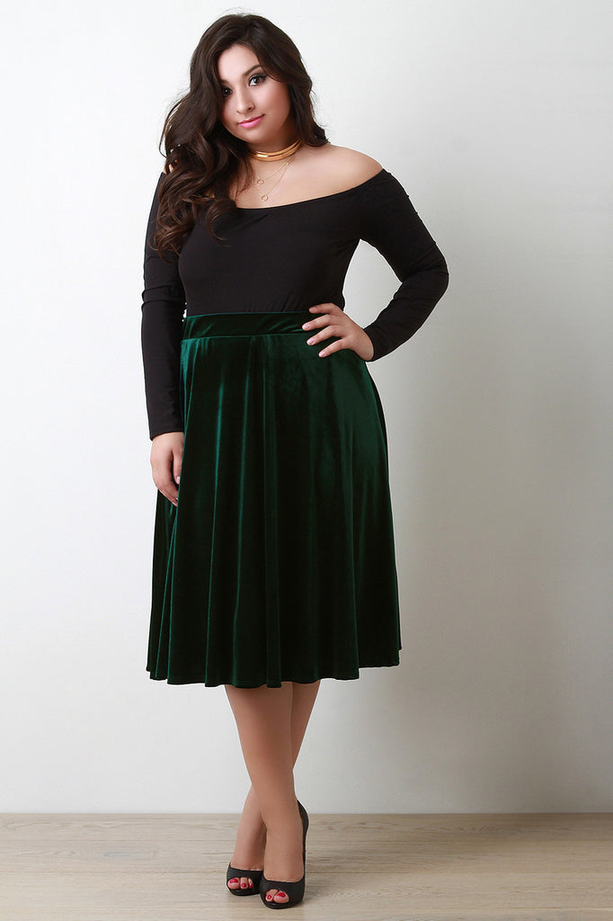 Velvet A-Line Midi Skirt - Rich Girl's Closet - 4