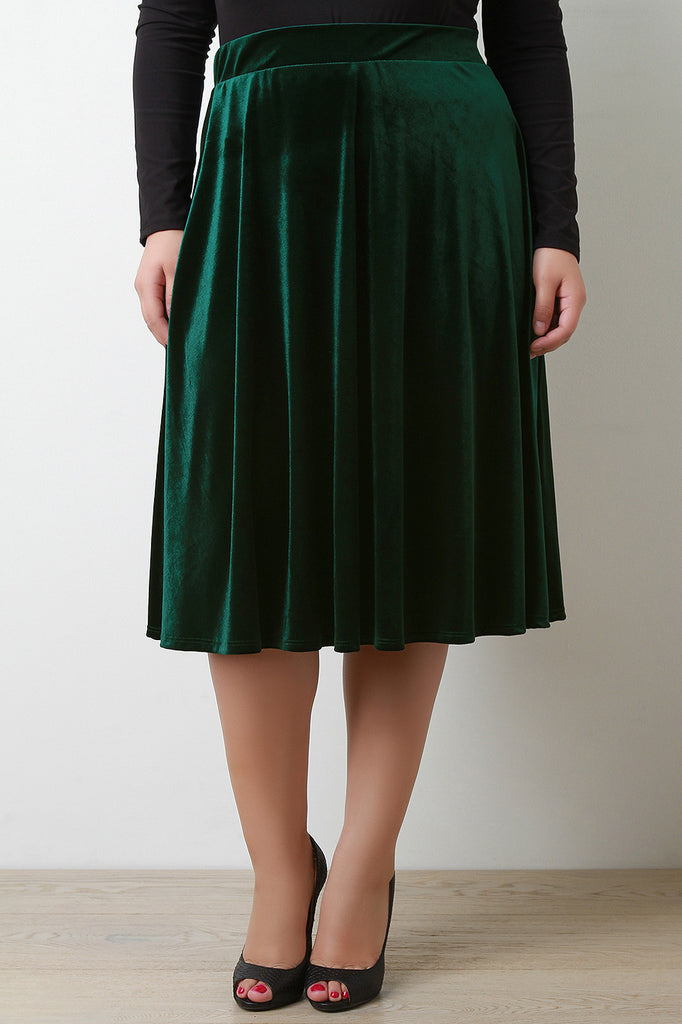 Velvet A-Line Midi Skirt - Rich Girl's Closet - 5