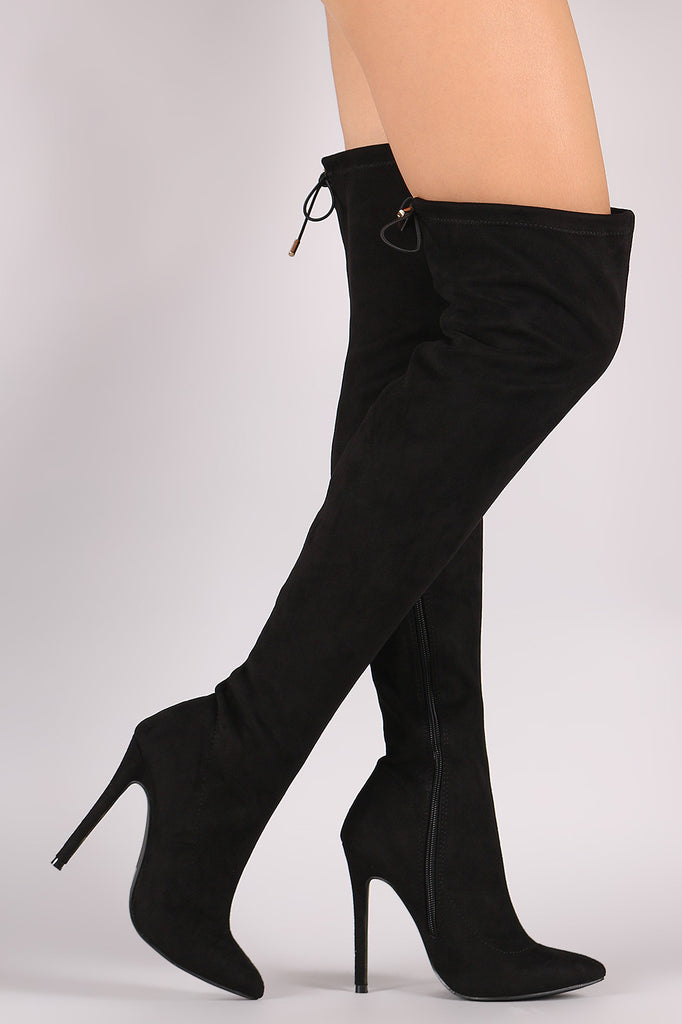 Suede Drawstring-Tie Pointy Toe Stiletto Boots - Rich Girl's Closet - 4
