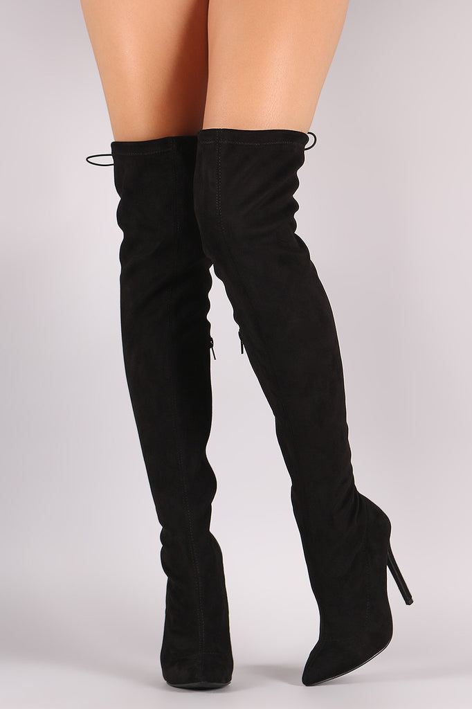 Suede Drawstring-Tie Pointy Toe Stiletto Boots - Rich Girl's Closet - 5