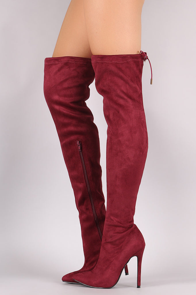 Suede Drawstring-Tie Pointy Toe Stiletto Boots - Rich Girl's Closet - 1