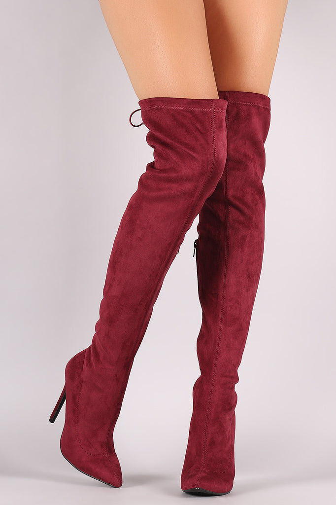 Suede Drawstring-Tie Pointy Toe Stiletto Boots - Rich Girl's Closet - 2
