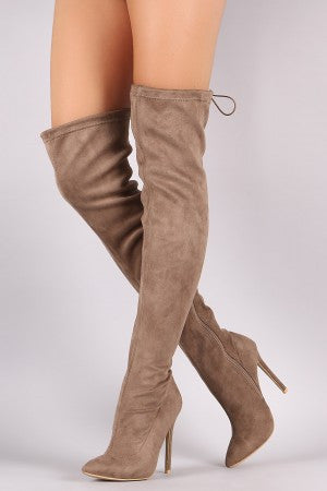 Suede Drawstring-Tie Pointy Toe Stiletto Boots - Rich Girl's Closet - 11