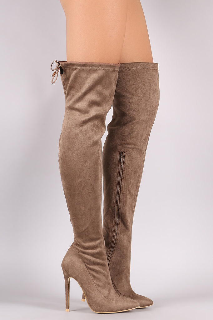 Suede Drawstring-Tie Pointy Toe Stiletto Boots - Rich Girl's Closet - 9